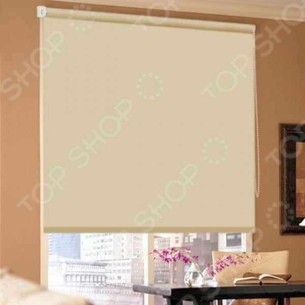 Рулонная штора блэкаут Эскар отражающая. Цвет: бежевый