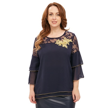 Купить Блуза Матекс «Новогодний цветок». Цвет: синий