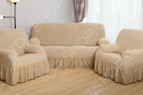 Натяжной чехол на трехместный диван и чехлы на 2 кресла Karbeltex «Престиж. Цветы» с оборкой
