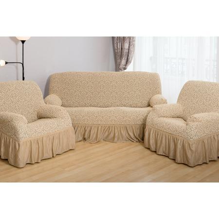 Купить Натяжной чехол на трехместный диван и чехлы на 2 кресла Karbeltex «Престиж. Цветы» с оборкой