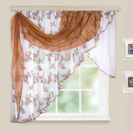 Купить Комплект легких штор левосторонний WITERRA «Мелодия». Цвет: светло-коричневый. В ассортименте