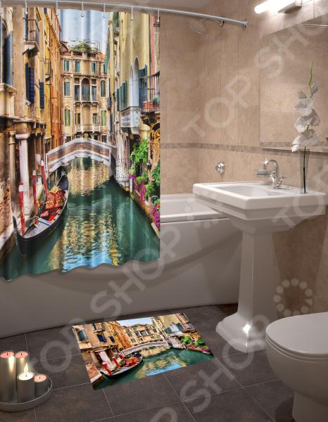 Набор для ванной комнаты: шторка и коврик ТамиТекс «Венеция»