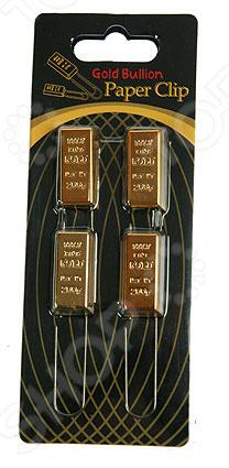 Набор скрепок Золотой слиток набор скрепок, изготовленных из прочного материала. В наборе находятся 4 скрепки, которые размещены компактно в специальной коробочке. Такие скрепки будут оригинально смотреться на любых бумагах или документах. Зажим скрепок прочно удерживает бумаги.