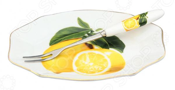 Тарелка для лимона с вилкой Elan Gallery фигурная «Лимоны» как лимоны в фермере на халяву