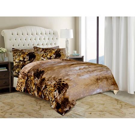 Комплект постельного белья «Леопардовая страсть». Евро. Цвет: коричневый