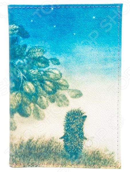 Обложка для паспорта кожаная Mitya Veselkov «Ежик ночью» обложка для паспорта кожаная mitya veselkov ежик с веточкой