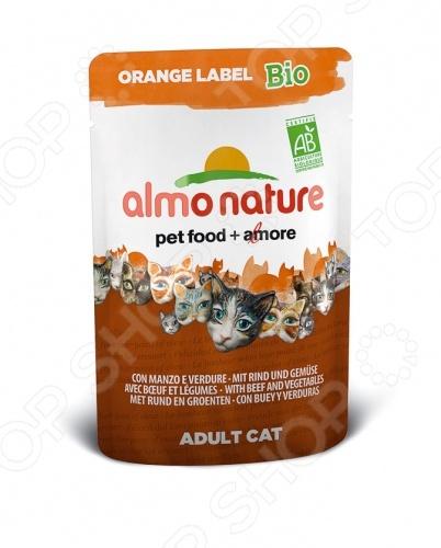 Корм влажный для кошек Almo Nature Orange Label Bio Adult with Beef and Vegetables качественный и экологически чистый корм, который идеально подходит для вашего питомца. За счет идеально сбалансированного состава он будет идеальным решение для домашних кошек, склонных к полноте или кастрированных котов, стерилизованных кошек. Данный корм включает в себя только отборные натуральные ингредиенты, дополнительно обогащенный высококачественными био-добавками из 100 натурального хозяйства. Благодаря этому ваш питомец будет получать только нужное количество полезных веществ, витаминов и минералов. Приятный, натуральный вкус говядины, приятная текстура корма пауча придется по душе даже самой капризной и привередливой кошке. Благодаря тому, что рацион не содержит ГМО, красителей, химических добавок, консервантов и антибиотиков, он будет безопасен для вашего питомца. Корм влажный для кошек Almo Nature Orange Label Bio Adult with Beef and Vegetables будет прекрасным выбором для вашего питомца, так как:  выполнен из ингредиентов, которые соответствуют стандарту Human Grade;  нежный корм легко переваривается и максимально эффективно усваивается организмом;  все ингредиенты проходят лишь механическую обработку без использования химических веществ;  кусочки мяса и злаки приготовлены в собственном бульоне сохраняют все свои питательные вещества. Внимание! Следите за тем, что у вашего питомца в миске всегда была чистая и свежая вода.