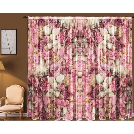 Купить Комплект тюля ТамиТекс «Розовые пионы»