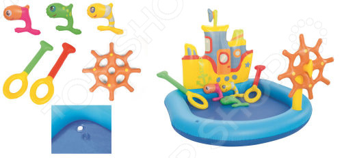 Бассейн надувной с игровыми принадлежностями Bestway «Кораблик» каркасный бассейн bestway 366х122 см 10250л без аксессуаров 56420 bw 14471
