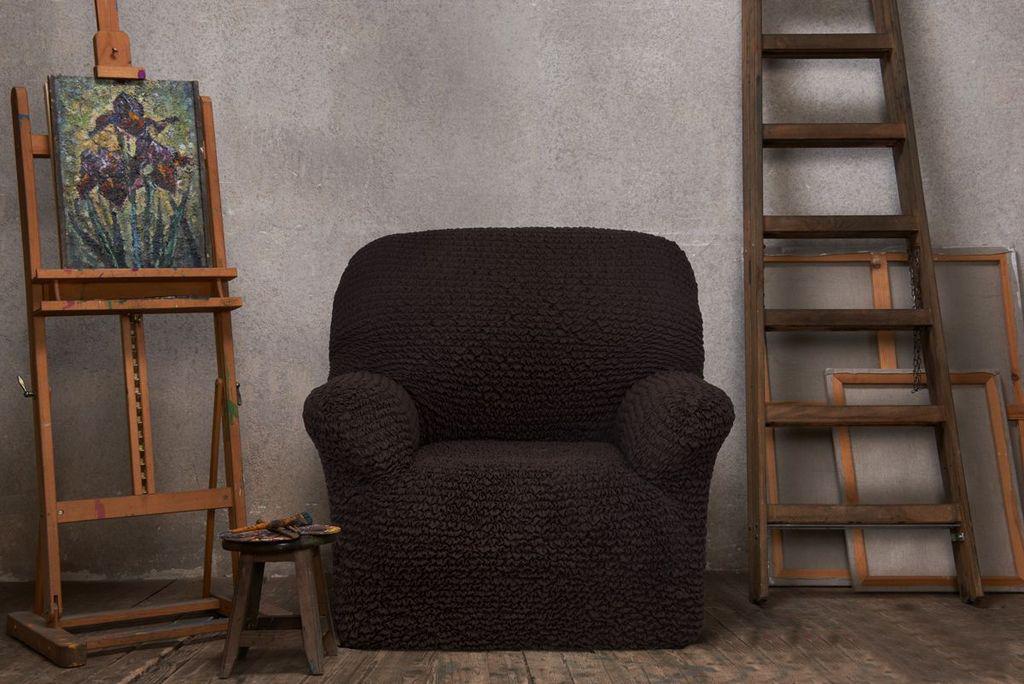 Натяжной чехол на кресло Еврочехол «Микрофибра. Черный шоколад» 2