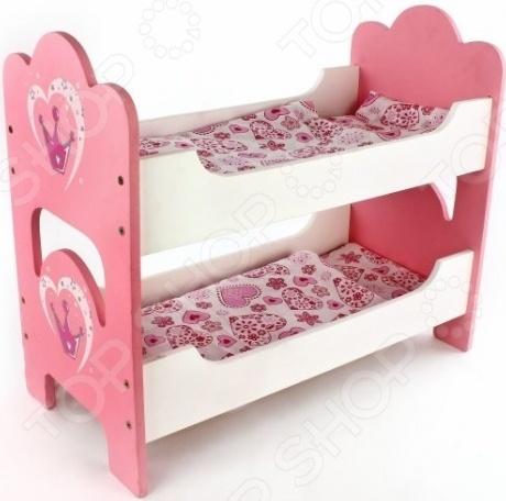 Кроватка для интерактивной куклы Mary Poppins 67116 из дерева, двухъярусная. Благодаря тщательной шлифовке и покрытию изделие имеет гладкую поверхность, оно абсолютно безопасно для игр. Кроватка имеет длину 50см, поэтому в ней отлично может уместиться большинство пупсов и кукол. Каждое местечко для сна укомплектовано комплектом постельного белья: матрасом, подушкой и одеялом. Комплектация:  спинки 2 шт;  боковины 4 шт;  основание 2 шт;  саморезы 16 шт;  матрас 2 шт;  одеяло 2 шт;  подушка 2 шт.
