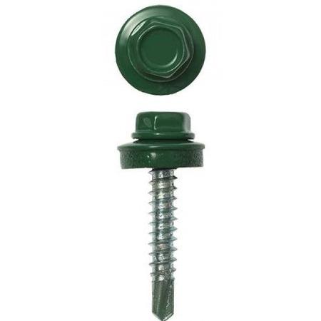 Купить Набор саморезов кровельных Stayer СКД для деревянной обрешетки. Цвет: зеленый