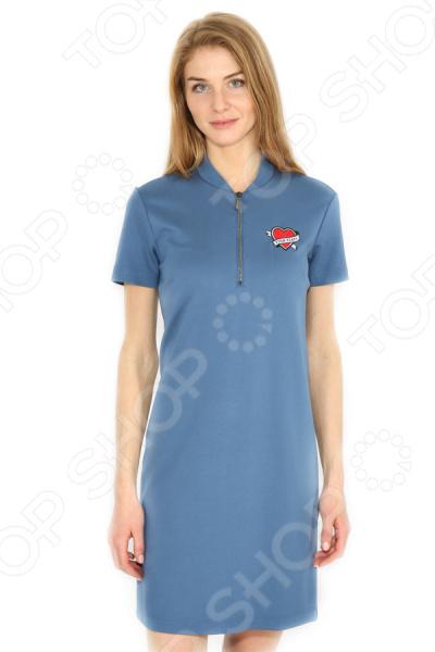Платье Finn Flare B17-32051. Цвет: серо-голубой