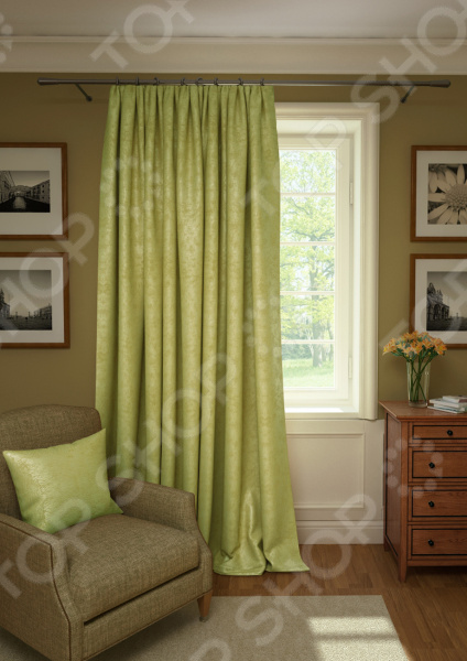 Штора Kauffort Plain Lux. Цвет: оливковый шторы интерьерные kauffort штора provence k на тесьме 136х175