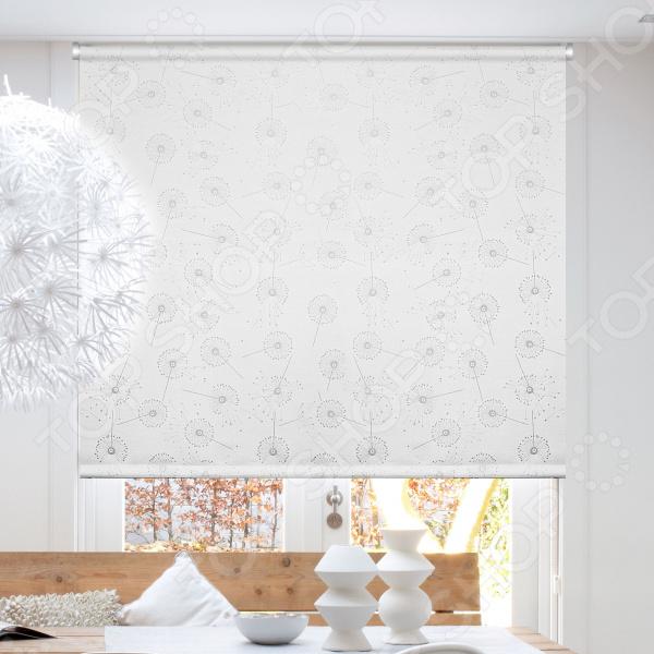 Рулонная штора Эскар «Одуванчик». Цвет: светло-серый шторы рулонные ролло идея рулонная штора ролло lux samba цветы зеленый оранжевый желтый 160 см