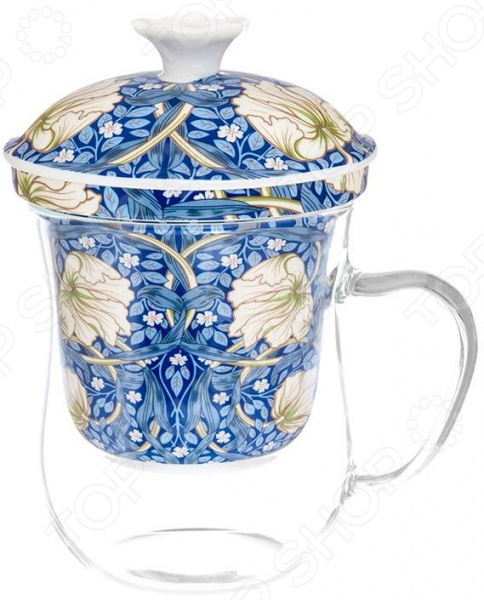 Кружка с заварником Elan Gallery «Цветы на синем»