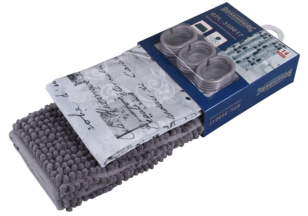 Набор: штора и коврик для ванной комнаты Rosenberg RPL-350017