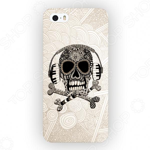Чехол для iPhone 5 Mitya Veselkov «Зентангл: Череп» череп дизайн кожа pu откидная крышка бумажника карты держатель чехол для iphone 5