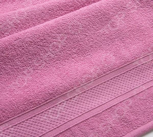 Полотенце махровое Uztex с бордюром. Цвет: фуксия
