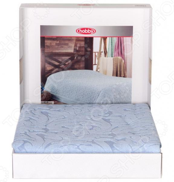 Покрывало махровое Hobby Home Collection Sultan. Цвет: голубой