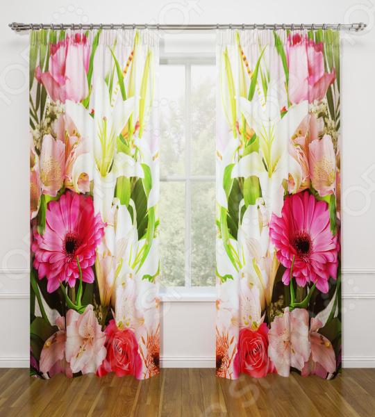 Фотошторы Стильный дом «Летние цветы» шторы море солнце и цветы стильный дом