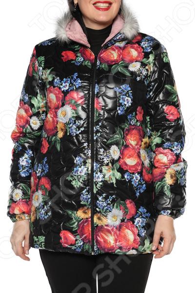 Куртка ТРЕНД «Аллея цветов». Цвет: черный