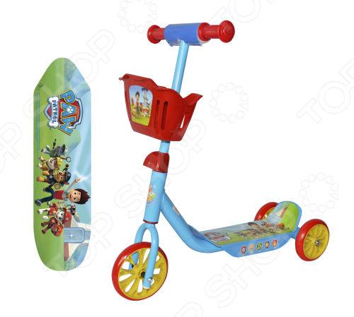 Самокат трехколесный 1 Toy «Щенячий патруль» с корзиной Т10051 самокат трехколесный 1 toy томас и его друзья