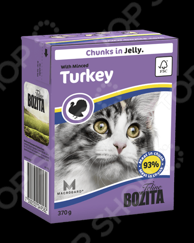 Корм консервированный для кошек Bozita Chunks in Jelly with Minced Turkey бозита мини консервы кусочки в соусе с мяcным коктейлем для кошек bozita mini feline chunks in sauce with meat mix 190 г