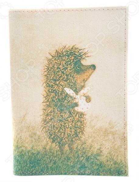 Обложка для паспорта кожаная Mitya Veselkov «Ежик с котомкой»