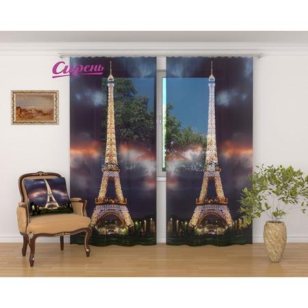 Купить Фототюль Сирень «Ночная Эйфелева башня»