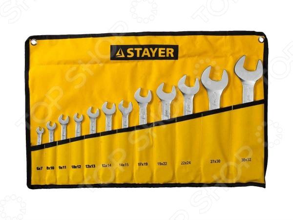 Набор ключей рожковых гаечных Stayer Profi 27035-H12 набор гаечных рожковых ключей 6 24мм 8шт stayer profi 27037 h8