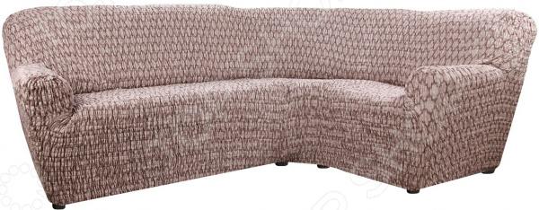 Натяжной чехол на классический угловой диван Еврочехол «Сиена Ластра»