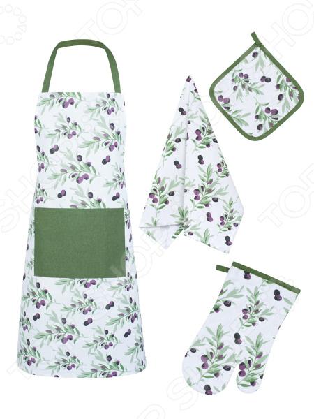 Набор кухонный: фартук, прихватка, рукавица и полотенце Guten Morgen «Маслины»