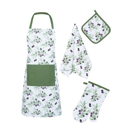 Купить Набор кухонный: фартук, прихватка, рукавица и полотенце Гутен Морген «Маслины»