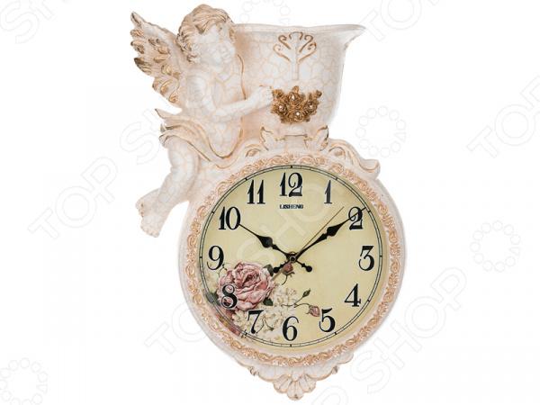 Часы настенные с кашпо Lefard «Ангел» 204-148 купить часы мальчику 7 лет