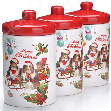 набор банок для сыпучих продуктов loraine красный узор 400 мл 3 шт 25862 Набор банок для сыпучих продуктов Loraine LR-27174