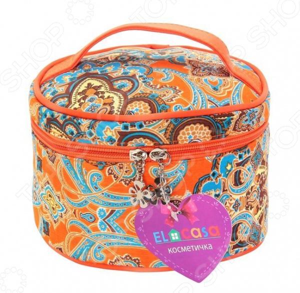 Косметичка круглая EL Casa оранжево-голубая с узором. Размер: 17х12 см el casa косметичка сумочка розовая с узором