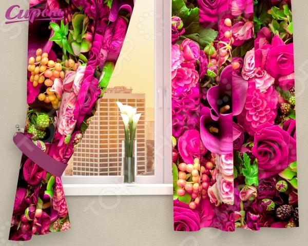 Фотошторы Сирень «Абстрактный фон из цветов»