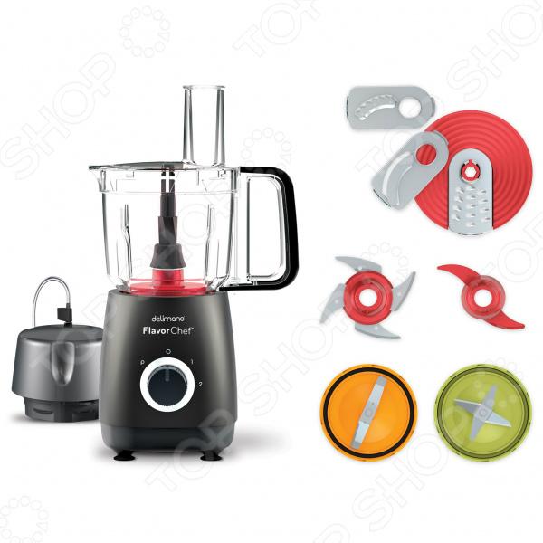 Минимум времени и усилий при готовке Благодаря кухонному комбайну Delimano Flavorchef Express вам потребуется минимум времени и усилий для того чтобы приготовить вкусные и полезные блюда! При разработке кухонного комбайна использовалась технология Flavorquick, обеспечивающая автоматическую регулировку мощности и скорости вращения ножей для достижения оптимальных результатов! Этот прибор выполняет функции миксера, мясорубки, измельчителя, кухонного комбайна и даже вакуум-закаточной машины.  2 скорости работы импульсный режим Для регулировки работы прибора используется поворотный переключатель, предусматривающий 2 скорости работы прибора и функцию импульсного измельчения!  Уникальная комплектация позволит приготовить самые разнообразные блюда В комплект к кухонному комбайну Delimano Flavorchef Express прилагаются насадки, которые позволят:  Измельчить на кусочки и натереть насадка для измельчения продуктов на мелкие кусочки и натирания ингредиентов. Благодаря ей, можно, например, приготовить вкуснейший домашний соус.  Нарезать ломтиками, натереть, нарезать соломкой все виды овощей, фруктов, а также сыр, ветчину и многое другое.  Замесить тесто! Что позволит приготовьте любимый торт или даже хлеб!  Измельчить на кусочки кубики льда, шоколад или большое количество зелени. Можно даже измельчить мясо на маленькие кусочки!  Измельчить до однородной консистенции или перемешать: фрукты, овощи, ингредиенты для супа-пюре. Также можно приготовить смузи или освежающий коктейль с кубиками льда !  Перемолоть орехи, зерна кофе, зелень, чеснок. Также можно приготовить ореховую пасту например, арахисовую !  Обеспечить вакуум! Да, всё именно так: в комплект входит уникальная насадка для обеспечения вакуума! Измельчайте продукты и храните в вакуумных пакетах многократного использования или банках. Любые продукты овощи, фрукты, кофе, сахар, сыр, ветчина, кусочки колбасы. а еще насадка идеально подходит для маринования мяса. В вакуумных пакетах или банках продукты можно хранить до 5 раз 