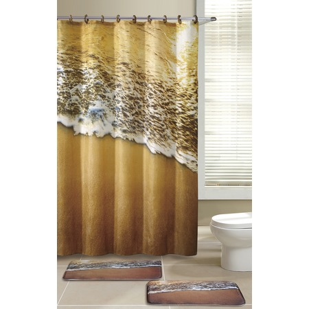 Купить Набор для ванной комнаты: 2 коврика и шторка с крючками Рыжий кот «Морской прибой»