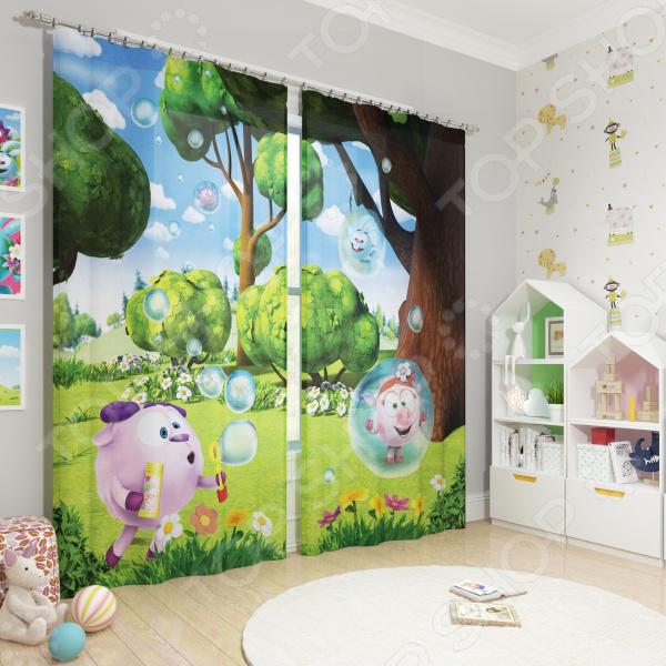 Фотошторы блэкаут детские Сирень «Веселые пузыри» фотошторы блэкаут сирень японский пейзаж