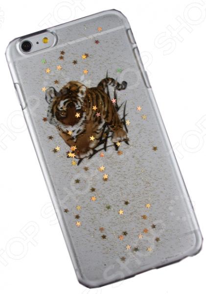 Чехол для iPhone 6/6S Plus с блестками «Тигр»