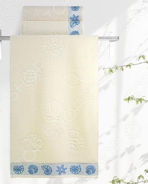 Полотенце махровое Aquarelle «Ракушки». Цвет: ваниль полотенца банные авангард полотенце махровое пестротканое жаккардовое ракушки