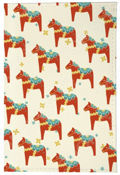 Обложка для паспорта кожаная Mitya Veselkov «Много скандинавских лошадок»