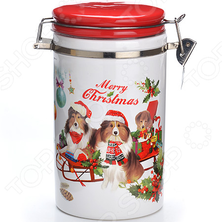 Банка для сыпучих продуктов Loraine «Собачки. Рождество. Санки»