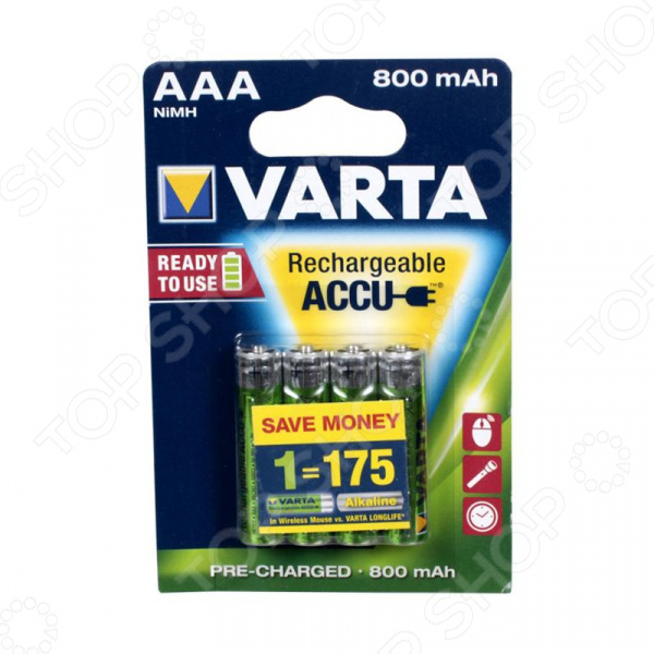 Батарея аккумуляторная VARTA AAA R2U 800 мАч 4 шт. сухая электрическая батарея pkcell 50 aaa 1 5v 50pcs 1 5v 2a 3a 1 5volts r03p um 4 aaa