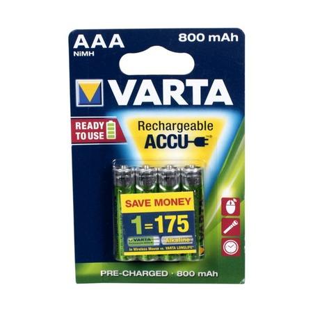 Батарея аккумуляторная VARTA AAA R2U 800 мАч 4 шт.