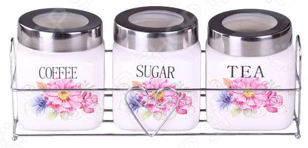 Набор банок для сыпучих продуктов Patricia «Букет» IM99-5214 емкости неполимерные patricia банка 17 см шт