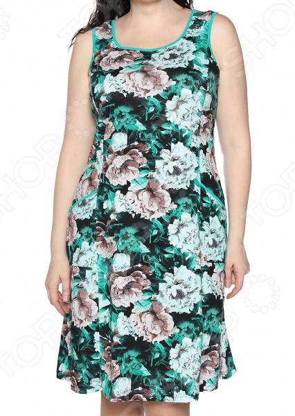 Платье Алтекс «Изобилие цветов». Цвет: зелено, бежевый