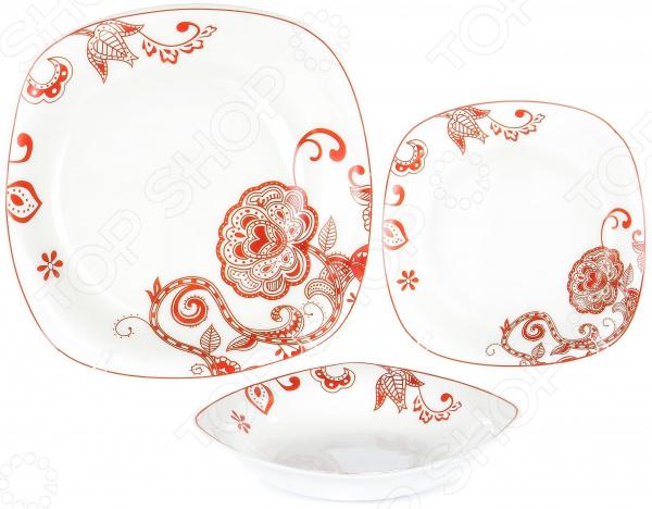 Набор столовой посуды OlAff «Красные цветы». Количество предметов: 18 набор столовой посуды olaff эстелла